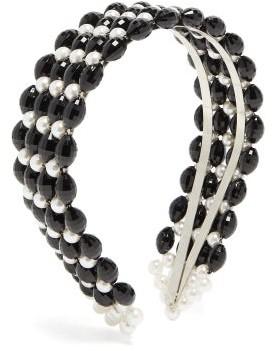Shrimps Quinn Beaded And Faux Pearl Headband - Black White