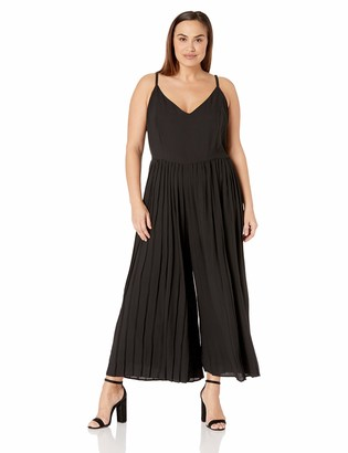City Chic Women's Apparel Women's Plus Size Sleeveless Wide Leg Pleated Jumpsuit