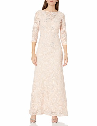Alex Evenings Women's Long Lace Dress with Illusion Neckline and Sleeves