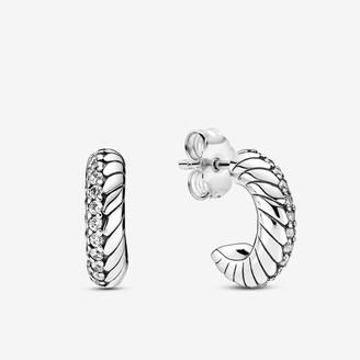 Pandora Pave Snake Chain Pattern Hoop Earrings