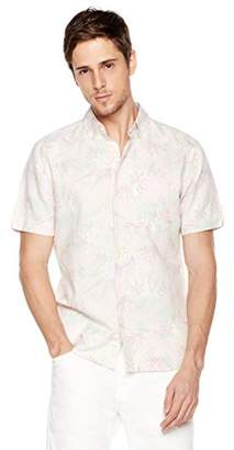 Isle Bay Linens Men's Slim Fit Short Sleeve Toile Vintage Printed Linen Cotton Casual Hawaiian Shirt M