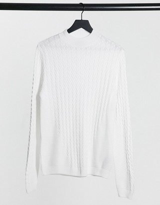 ASOS DESIGN muscle fit lightweight cable turtleneck jumper in white