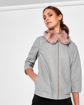 Ted Baker Wool faux fur bomber jacket
