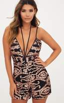 PrettyLittleThing Gold Sequin Plunge Playsuit
