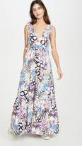 Mira Mikati Bold Lines Flower Print Tiered V Neck Dress