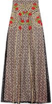 Temperley London Antila Embroidered Cotton-blend Lace Maxi Skirt - Black