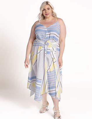 ELOQUII Colorblocked Dress with Handkerchief Hem