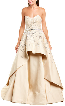 Carolina Herrera Strapless Embroidered Silk Gown
