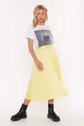 Nasty Gal Womens The Pleat Is On Satin Midi Skirt - Yellow - S, Yellow