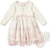 Bonnie Jean Bonnie Baby Girls Newborn-24 Months Button-Front to Mesh Embroidered Dress