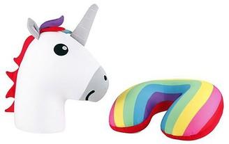 Kikkerland Unicorn Rainbow Zip and Flip Neck Pillow