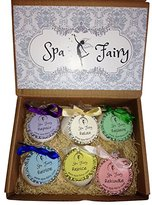 Spa Fairy Economy Packaging Bath Bomb Set. 6 Large All Natural Bath Bombs with Organic Essential Oils, Shea, Cocoa Butters. Moisturizing Lush Aromatherapy Bath. Valentine's Day Gift, or for Yourself