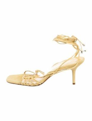 Chanel Wraparound Suede Sandals Yellow