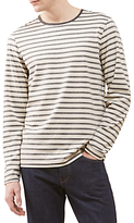 Jigsaw Melange Stripe Long Sleeve Breton Top, Navy