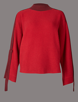 Autograph Cotton Blend Ribbed Strap Sleeve Jumper