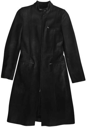 Emporio Armani Black Leather Coat for Women Vintage