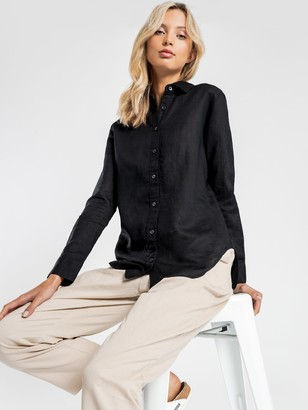 Nude Lucy Nude Classic Linen Shirt in Black