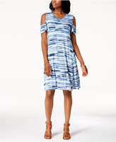 Style&Co. Style & Co Tie-Dyed Cold-Shoulder Dress, Created for Macy's