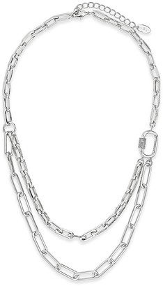Sterling Forever Rhodium Plated 2 Layer Carabiner Necklace
