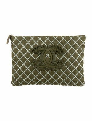 Chanel Tweed Stitch Large O-Case Olive