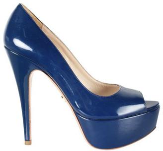 Prada Blue Patent Leather Peep Toe Platform Pumps Size 37.5