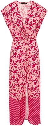 Vix Paula Hermanny Twist-front Printed Cady Midi Dress