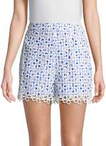 Anna Sui Women's Gingham-and-Daisies Cotton Shorts
