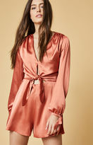 Oh My Love Satin Long Sleeve Romper