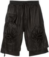 Kokon To Zai round gathered leather shorts - men - Calf Leather - S