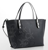Calvin Klein Womens Hailey Embossed Logo Studio Tote Bag