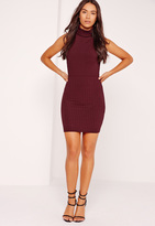 Missguided Ribbed Turtle Neck Bodysuit Burgundy