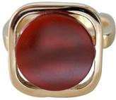 Pierre Cardin Modernist 18K Yellow Gold Carnelian Ring Size 5.5