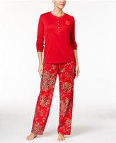 Lauren Ralph Lauren Henley Top and Flannel Pants Pajama Set
