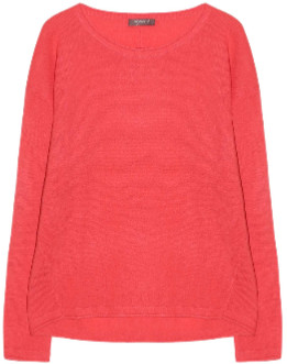 10per3 - Coral Cashmere Round Neck Long Sleeve Sweater - coral | cashmere | xs - Coral