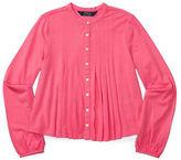 Ralph Lauren Girls 7-16 Pleated Front Jersey Top