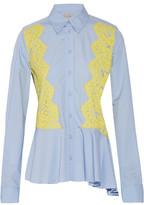 Preen by Thornton Bregazzi Warner Lace-Paneled Cotton Shirt