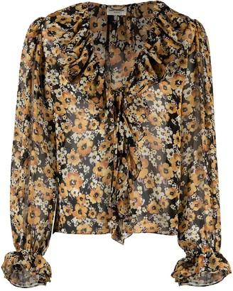 Saint Laurent Frilled Tie Silk Blouse