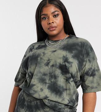 Asos DESIGN Curve oversized t-shirt in tonal tie dye