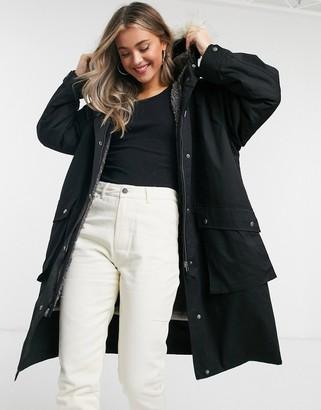 ASOS DESIGN faux fur hooded parka in black