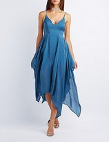 Charlotte Russe Satin Handkerchief Hem Maxi Dress