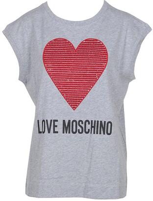 Love Moschino Melange Gray Cotton Women's T-Shirt w/Crystals Heart