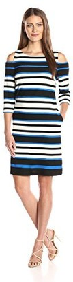 Sandra Darren Women's 1 Pc Cold Shoulder 3/4 Sleeve Printed Striped Shift Knit Dress