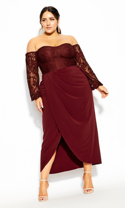 City Chic Romantic Rosa Maxi Dress - bordeaux