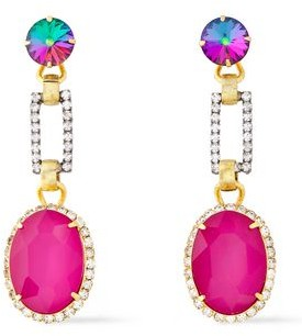 Elizabeth Cole 24-karat Gold-plated, Silver-tone And Crystal Earrings