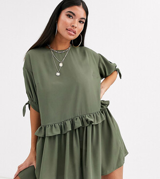 Asos DESIGN Petite mini smock dress with frill waist and tie sleeve