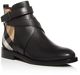 Burberry Women's House Check Almond-Toe Booties