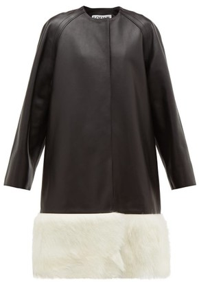Loewe Shearling-trimmed Collarless Leather Coat - Black White