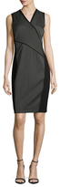 T Tahari Venus Asymmetrical Colorblocked Sheath Dress