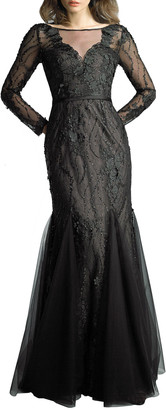 Basix II Embellished Long-Sleeve Godet Illusion Gown