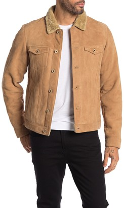 Scotch & Soda Faux Shearling Lined Suede Trucker Jacket